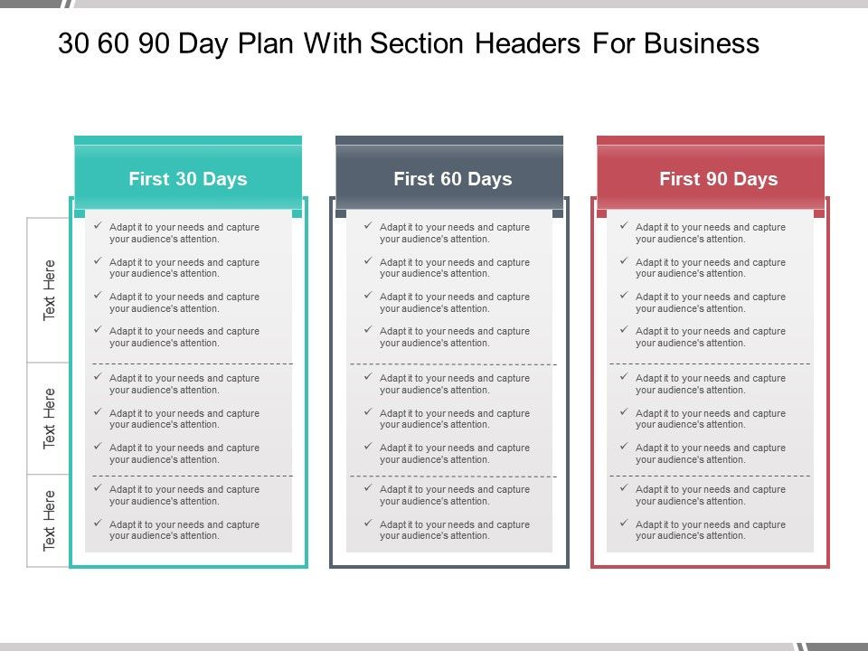 30 60 90 Day Plan With Section Headers For Business 90 Day Plan Day Plan How To Plan