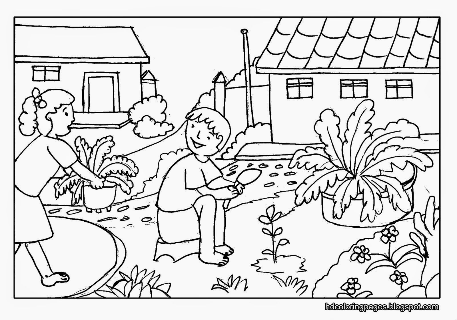 Gardening With Family Coloring Pages | Coloring Pages | Pinterest ...