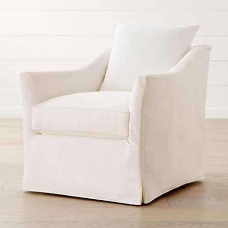 Keely Slipcovered Swivel Chair Reviews Crate And Barrel Slipcovers For Chairs Swivel Chair Living Room Living Room Chairs