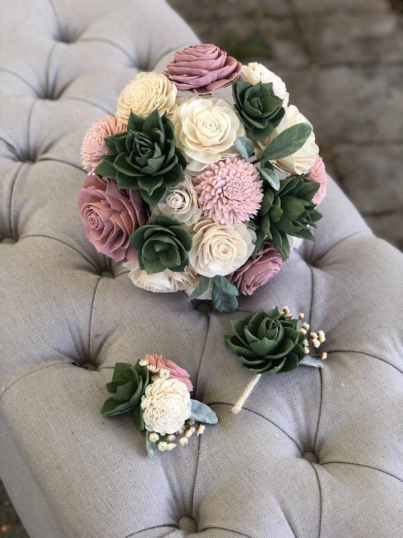 Soft Succulent Bouquet Blush Ivory Pink Sola Wood Flowers