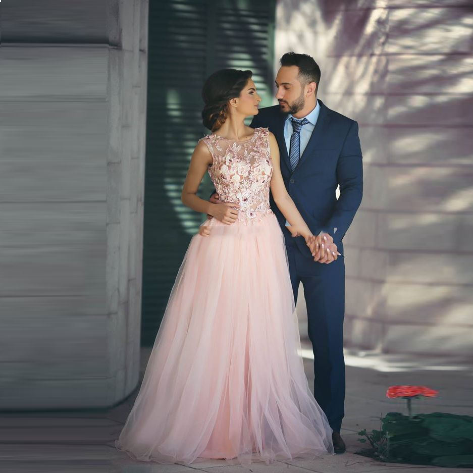 Click to buy ucuc saudi arabic romantic pink tulle long evening gowns