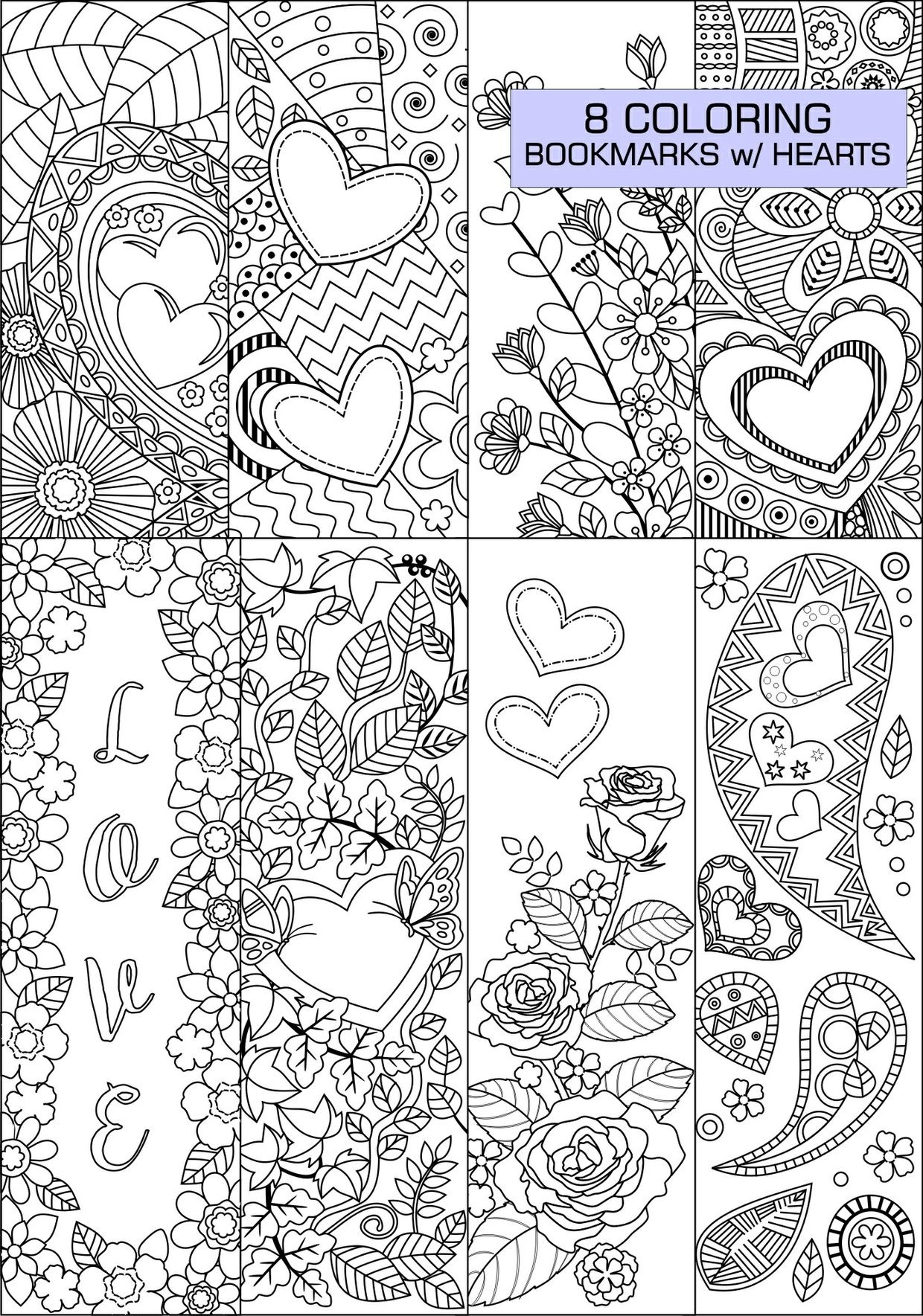 Set Of 8 Coloring Bookmarks With Hearts Art Doodles For Etsy Coloring Bookmarks Heart Coloring Pages Book Markers