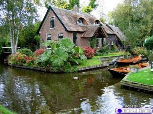 Giethoorn, Holland -- no roads, only connecting waterways and bike paths.
