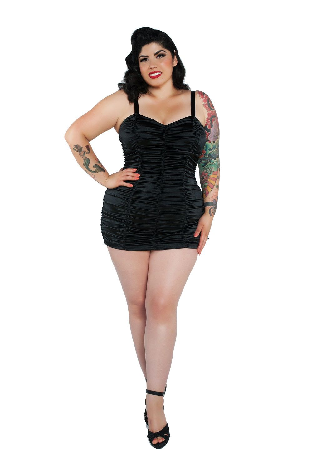 pinup girl clothing - plus size marilyn swimsuit - black | pinup