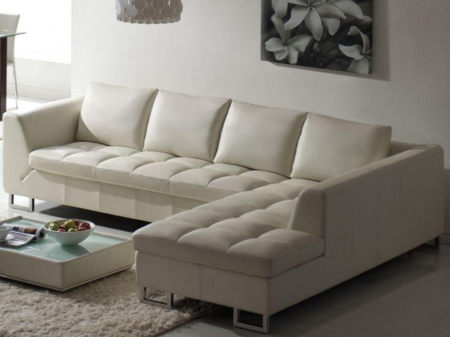 Canapé Dangle En Cuir De Buffle ALICANTE Blanc Angle Droit Prix - Canape d angle cuir blanc pas cher