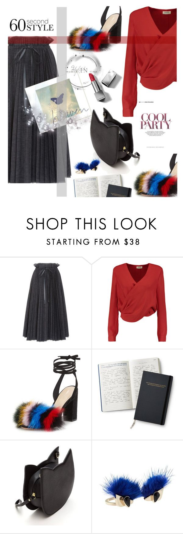 """60 Second Style: Family Dinner"" by klementina-kuzma ❤ liked on Polyvore featuring Dice Kayek, L'Agence, Loeffler Randall, Fendi and Burberry"