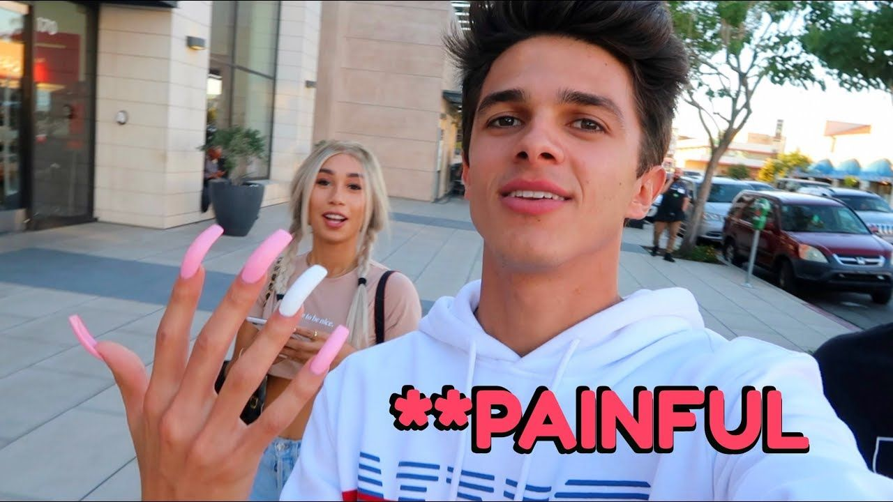 Wearing Long Acrylic Nails For 24 Hours W Mylifeaseva Brent Rivera In 2020 Brent Rivera Long Acrylic Nails Brent