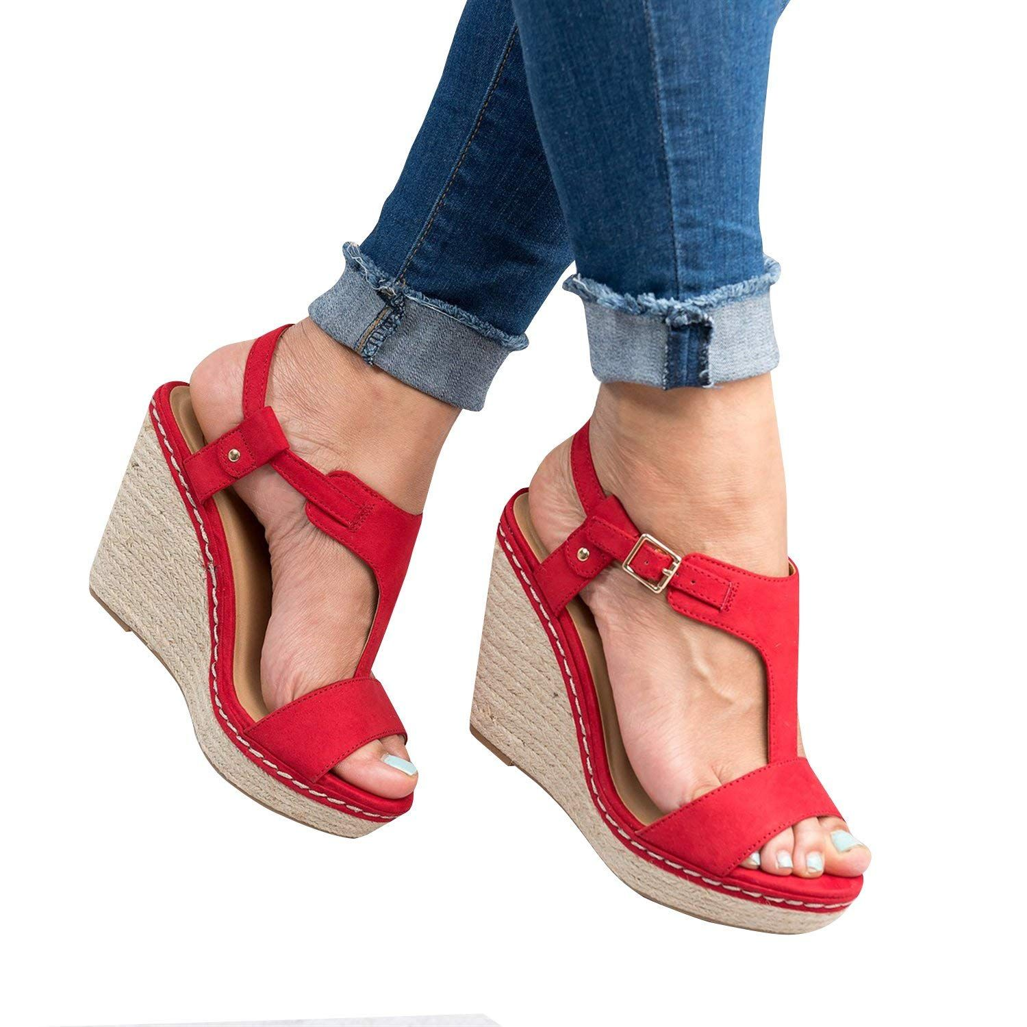6ef48b0f643 Syktkmx Womens Strappy Espadrille Platform Wedge Sandals Open Toe Ankle  Wrap Mid Heel Summer Dress Sandals Wear with dresses ...