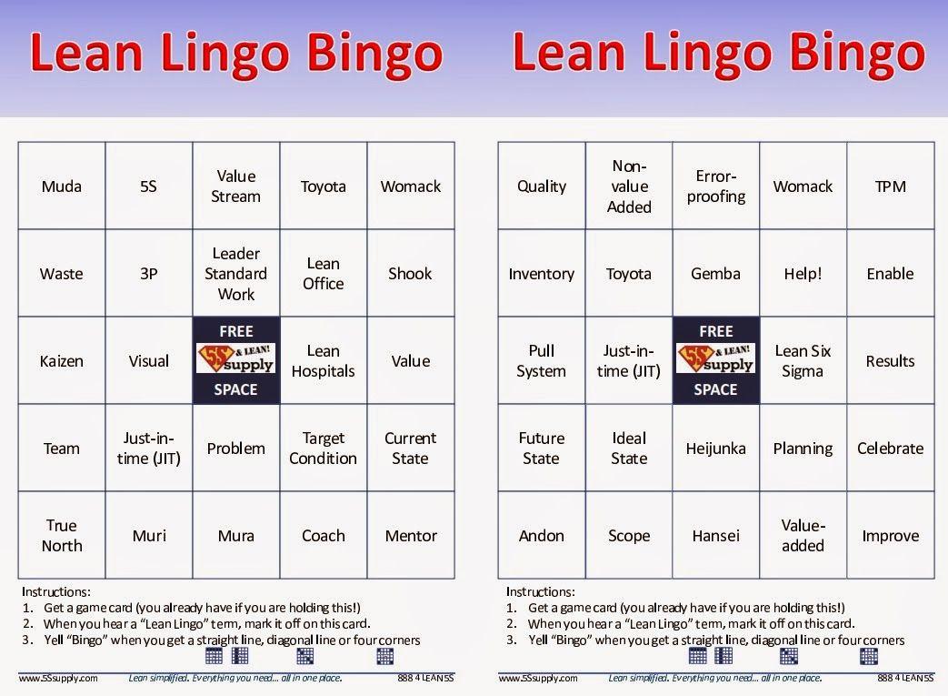Agile Fun Games lean bingo   bingo, presentation, lean six sigma