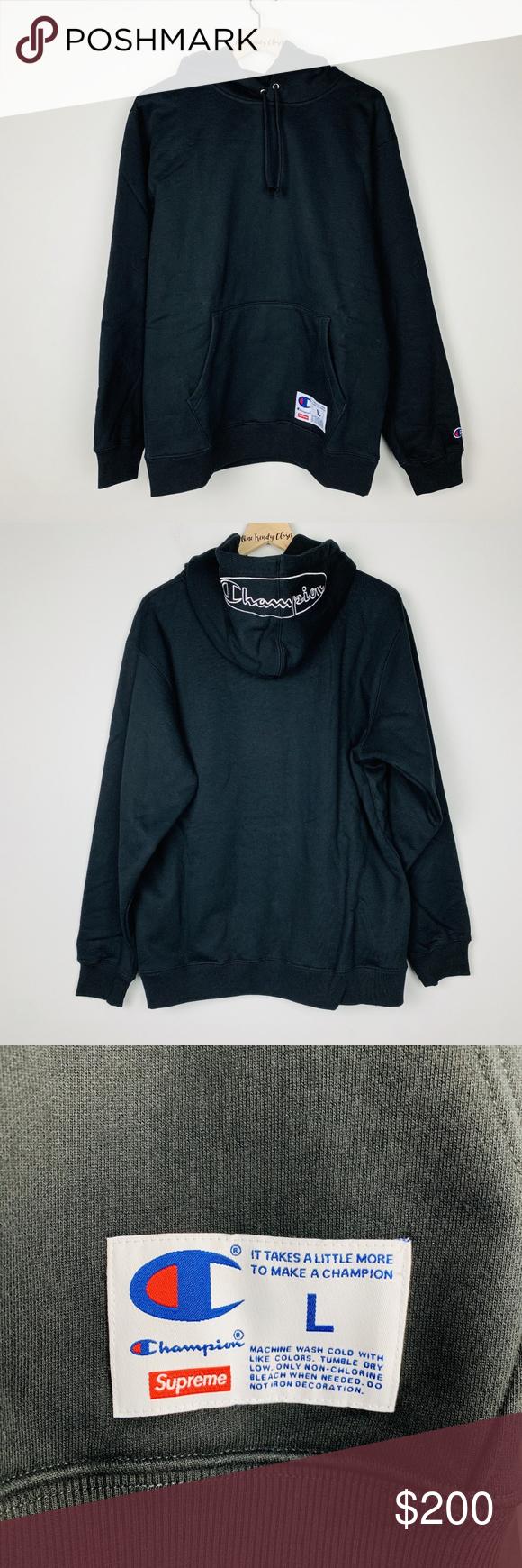 Supreme Men S Champion Outline Hooded Sweatshirt Hoodie Brands Hooded Sweatshirts Black Sweatshirts [ 1740 x 580 Pixel ]