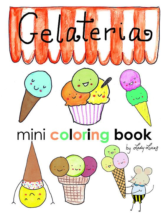 Gelato Ice Cream Coloring Book Printable Download 10 Pages of