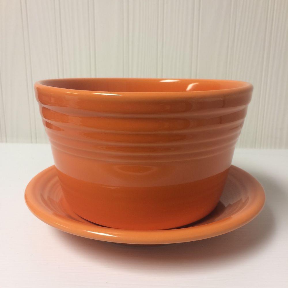 Retired Tangerine Fiesta Dinnerware Flower Pot Planter Made By Homer Laughlin China Company Ebay