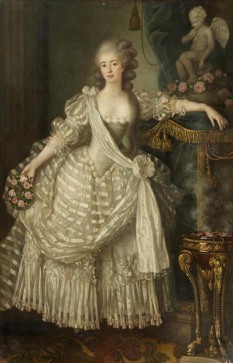 portrait d 39 une dame en blanc tenant une couronne de roses dans sa main droite et ayant son. Black Bedroom Furniture Sets. Home Design Ideas