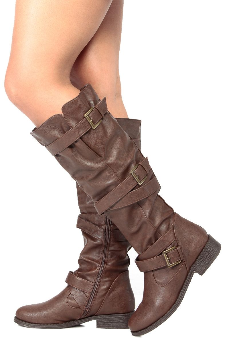 6fd974bb466 Brown Faux Leather Knee High Strappy Biker Boots   Cicihot Boots Catalog women s  winter boots