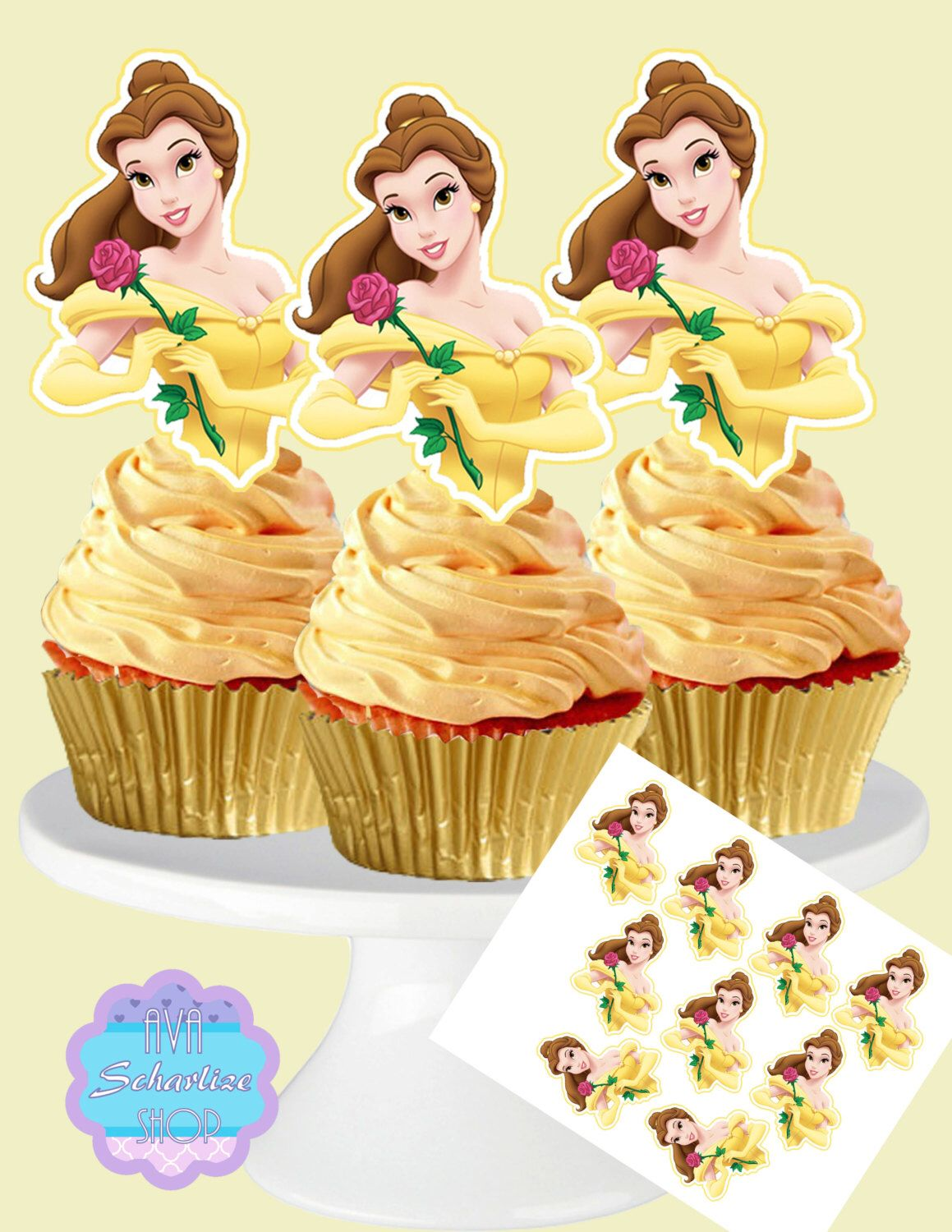 Beauty And The Beast Cupcake Toppers Princess Belle Cupcake Topper Belle Cupcake Picks Diy Printable Instant Download Beauty And The Beast Cupcakes Princess Belle Beauty And The Beast