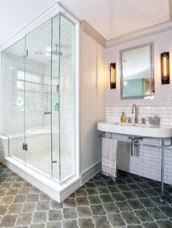Arabesque Floor Tiles Soften The Hard Edges In This Contemporary Bathroom