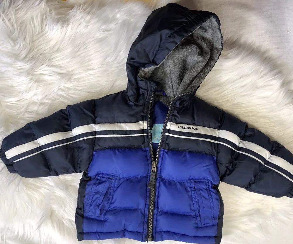574b42236 London Fog Boys 12 Months Blue Hooded Puffer Jacket Coat with Fleece ...