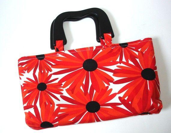 Purse handbag with wood handles bright red by NancyEllenStudios