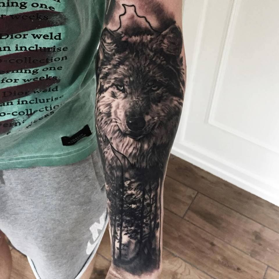 Tattoo Quotes About Nature: Black And Grey Wolf And Nature Tattoo By Mark 'TheShark