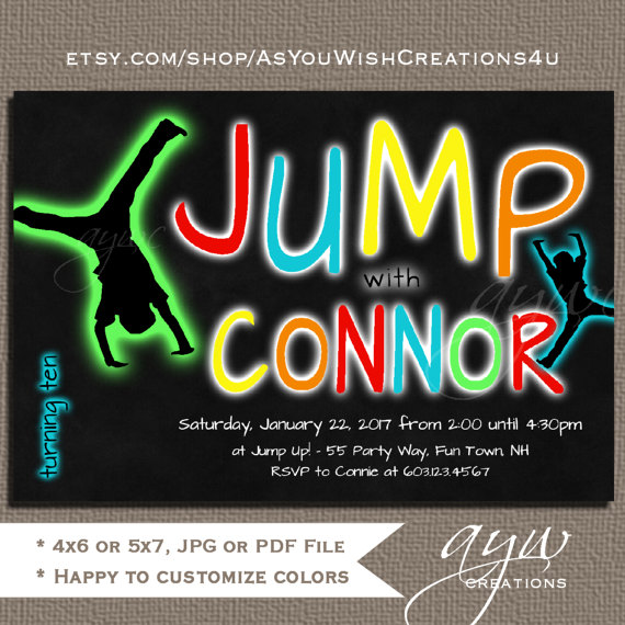 Jump Birthday Party Invitation Trampoline Glow Invitations Invites Chalkboard ANY AGE