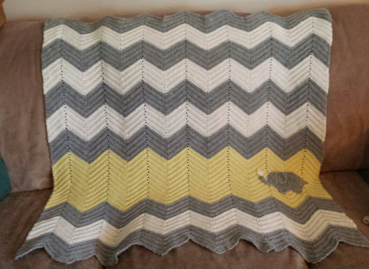 Grey and Yellow Chevron Baby Blanket with Elephant Applique ...