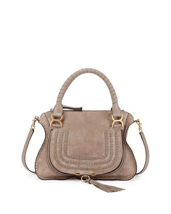 c88bde01576a Chloe suede satchel bag with studded trim. Leather-wrapped top handles with  Marcie buckles. Removable shoulder strap. Zip top with fluted edges.  Horseshoe ...