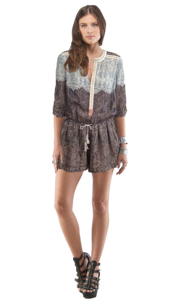 Lace Inset Romper Paisley | Cynthia Vincent