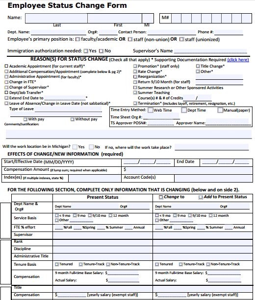 6+ Employee Status Change Forms Templates, Form, Excel