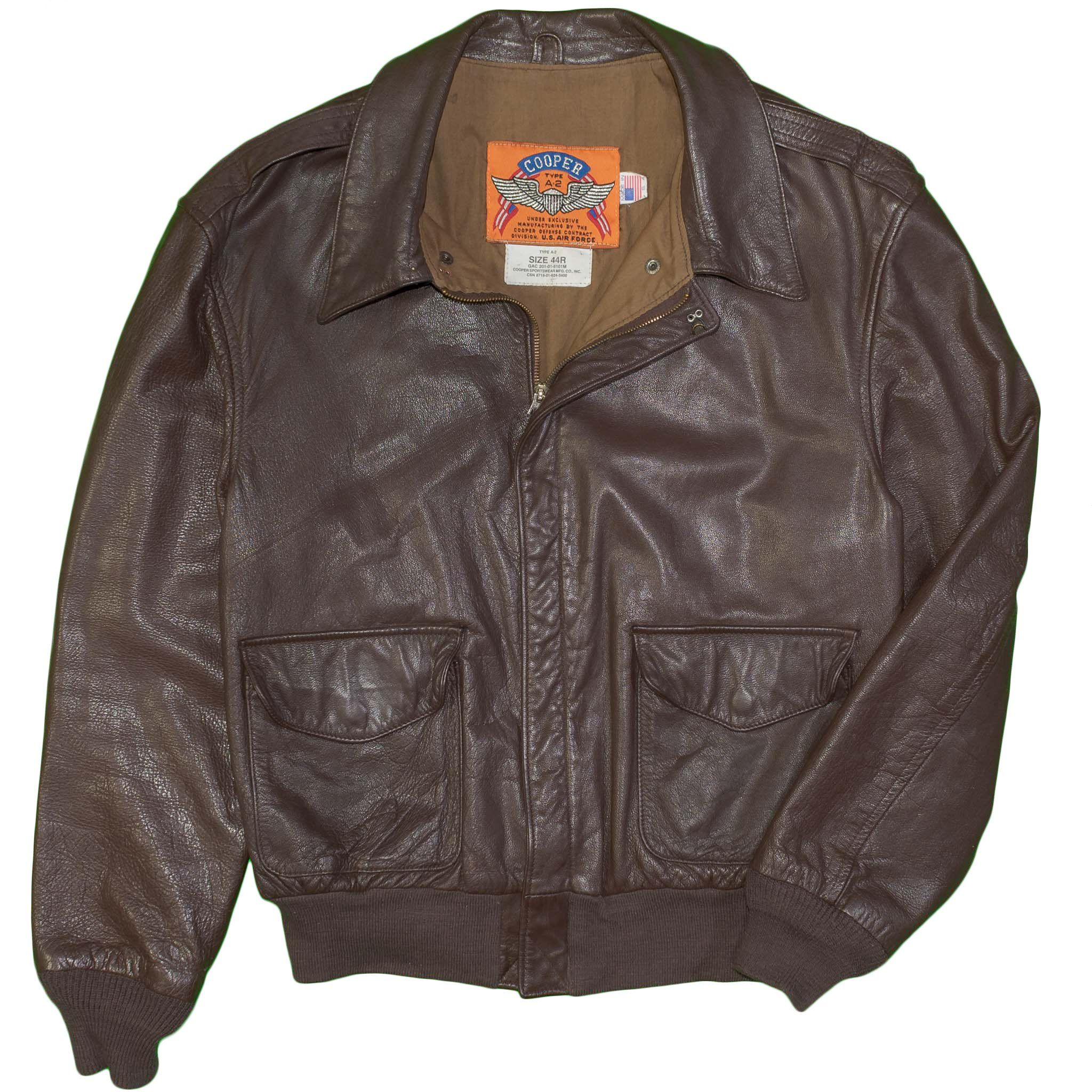 f4ea4c98da6 Cooper A-2 Bomber Flight Jacket Vintage 100% Goatskin Leather 44 Regular  United States Air Force Military Civilian Aviation Flying Pilot Airplane  Jet Plane ...