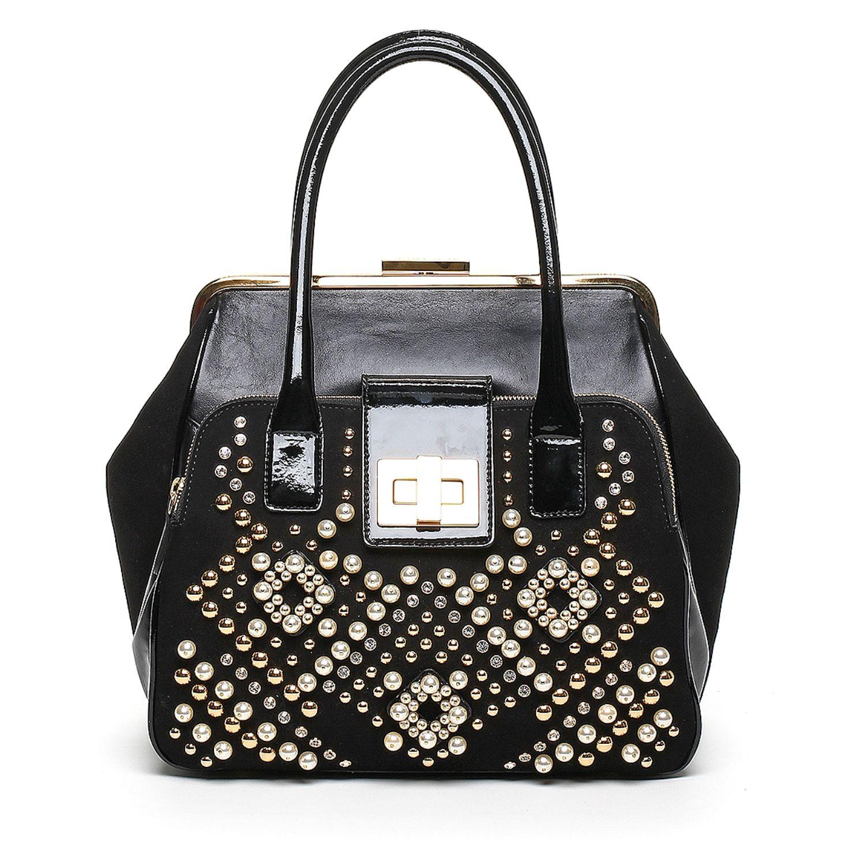BRACCIALINI - #Clio #Pearl #geometria #strass #borchie #bianco #nero #borsa #bag