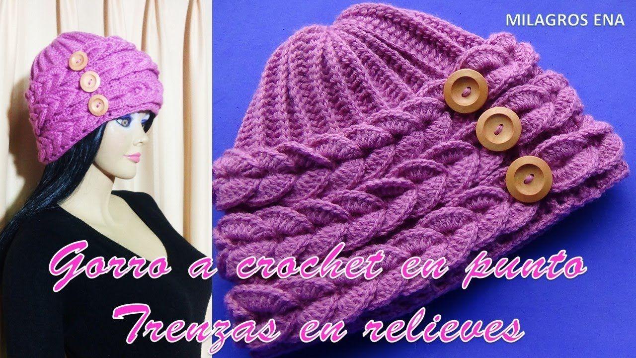 GORRO A CROCHET en punto TRENZAS EN RELIEVES paso a paso | Crochet ...