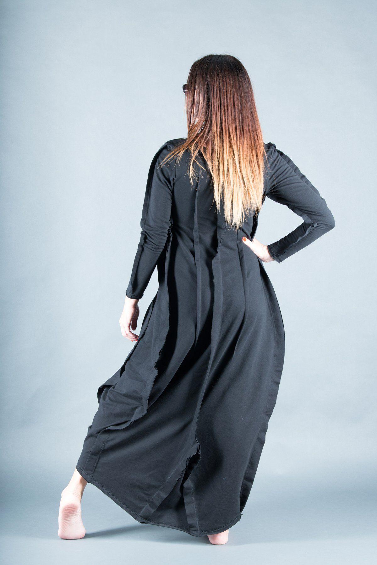 Autumn Black Plus Size Maxi Dress, Extra Long Black Cotton ...