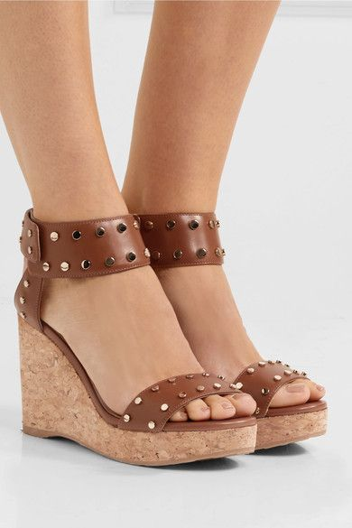 Jimmy Choo Nelly Studded Cork Wedge Sandals, Brown