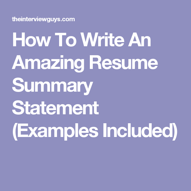 summary statements for resumes