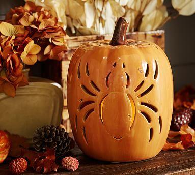 Ceramic Spider Pumpkin Luminary Potterybarn Halloween Entertaining Fall Halloween Decor Halloween Decorations Indoor