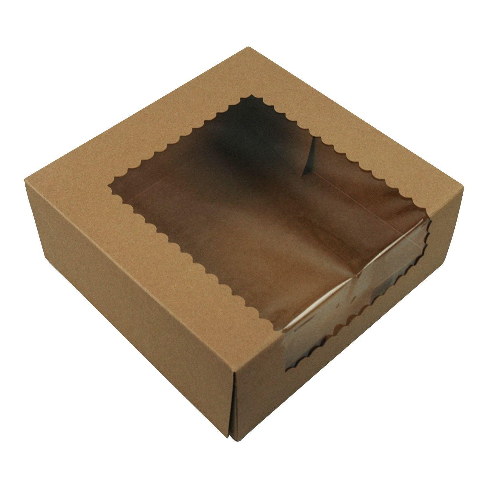 Brown kraft cake boxes with window 9x9x35 150bundle