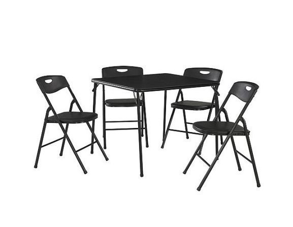 Folding Table And Chairs Set Black Guests Party Camping Fold Up