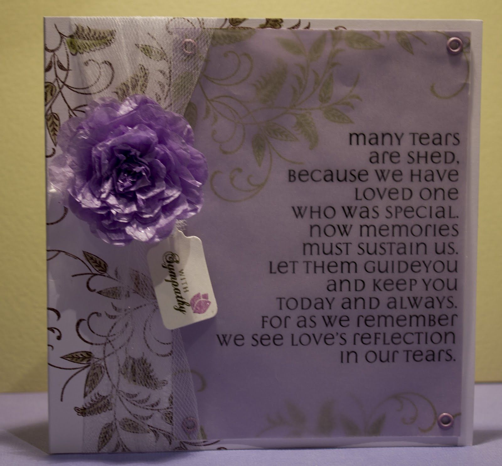 Homemade Sympathy Card Loss Of Mother Messages Death Mother Sandle