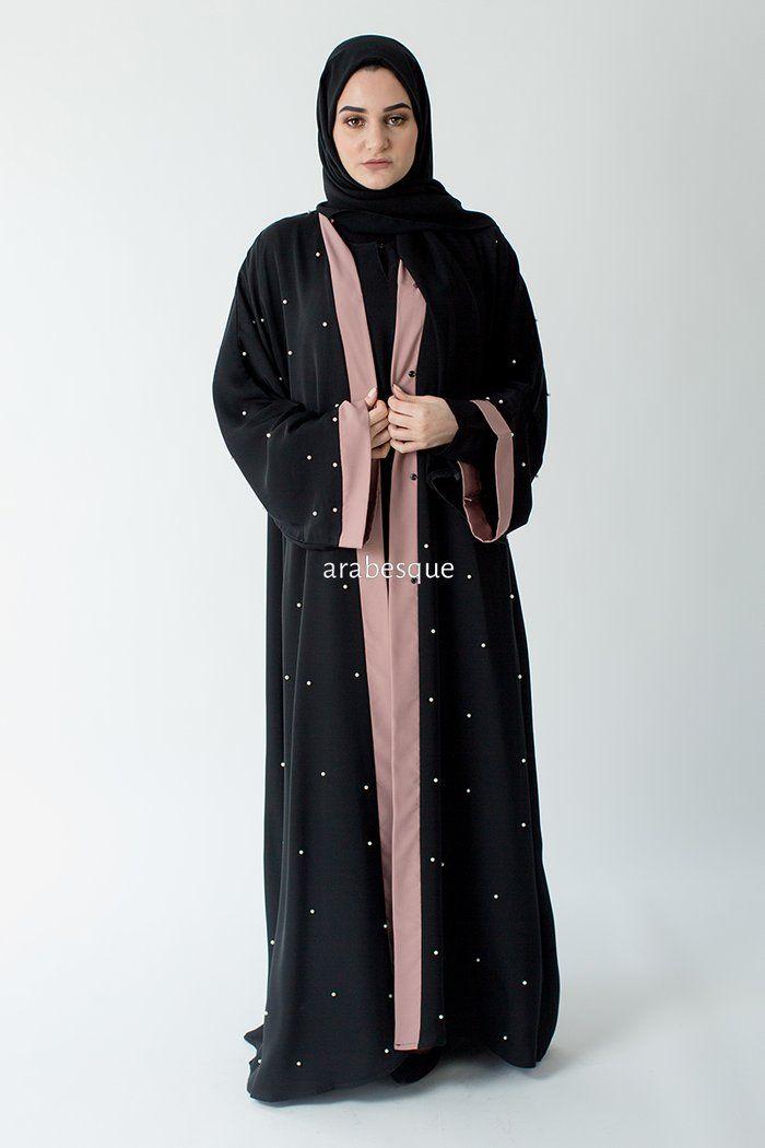 84d842f8f8bc1 Pearl Blush Abaya in 2019 | tunics | Dresses, Black abaya, Arabesque