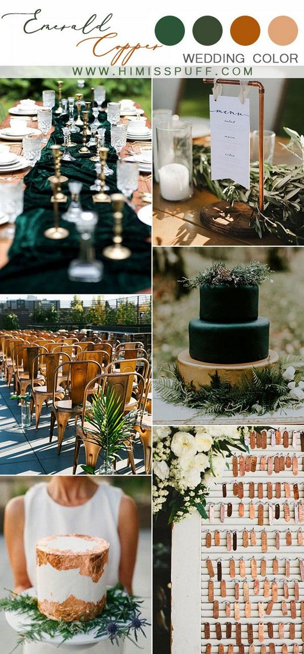 copper wedding decor ideas mixed and match dark green wedding theme chic metallic wedding…