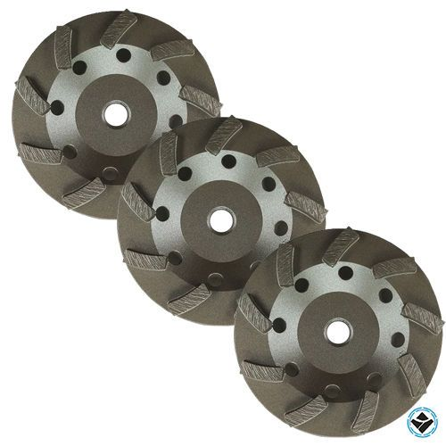 3pk 4 1 2 Inch Diamond Grinding Cup Wheel Turbo Swirl 9 Segs 5 8 11 Thread Swirl Turbo Grind