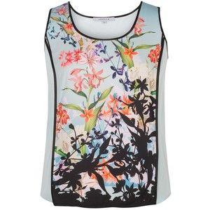 Chesca Floral Print Satin Back Crepe Camisole Top, Aqua/Multi