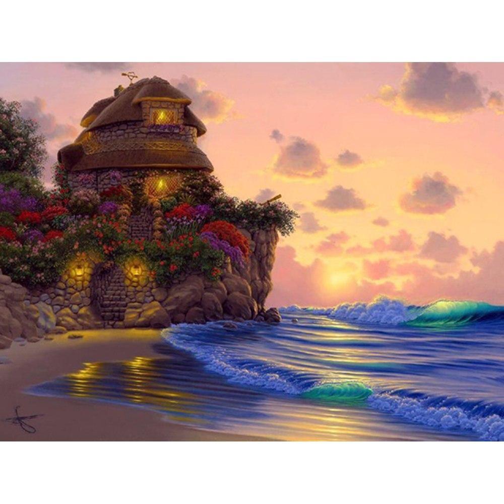 5D Diamond Painting Secret Cottage by the Sea Kit