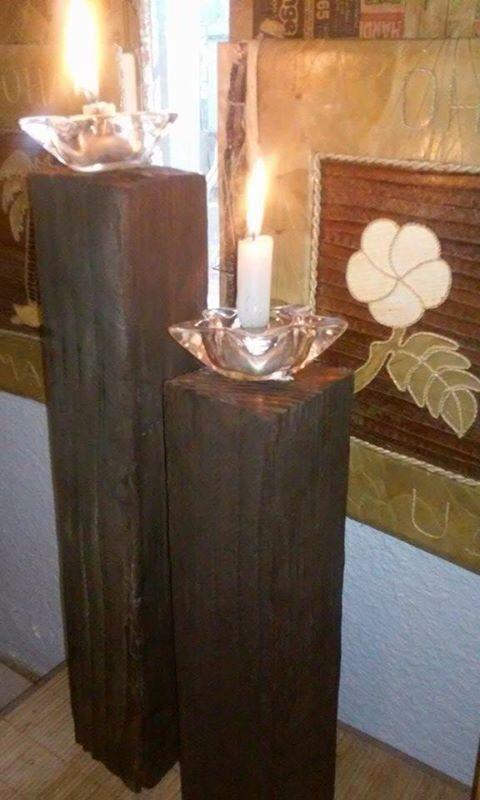Soporte para velas hechas con madera reciclada madera - Soporte para velas ...