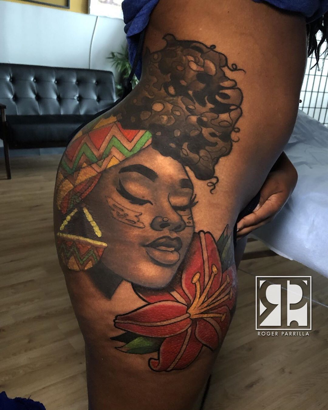 Thigh Tattoos On Black Skin : thigh, tattoos, black, Inkspiration