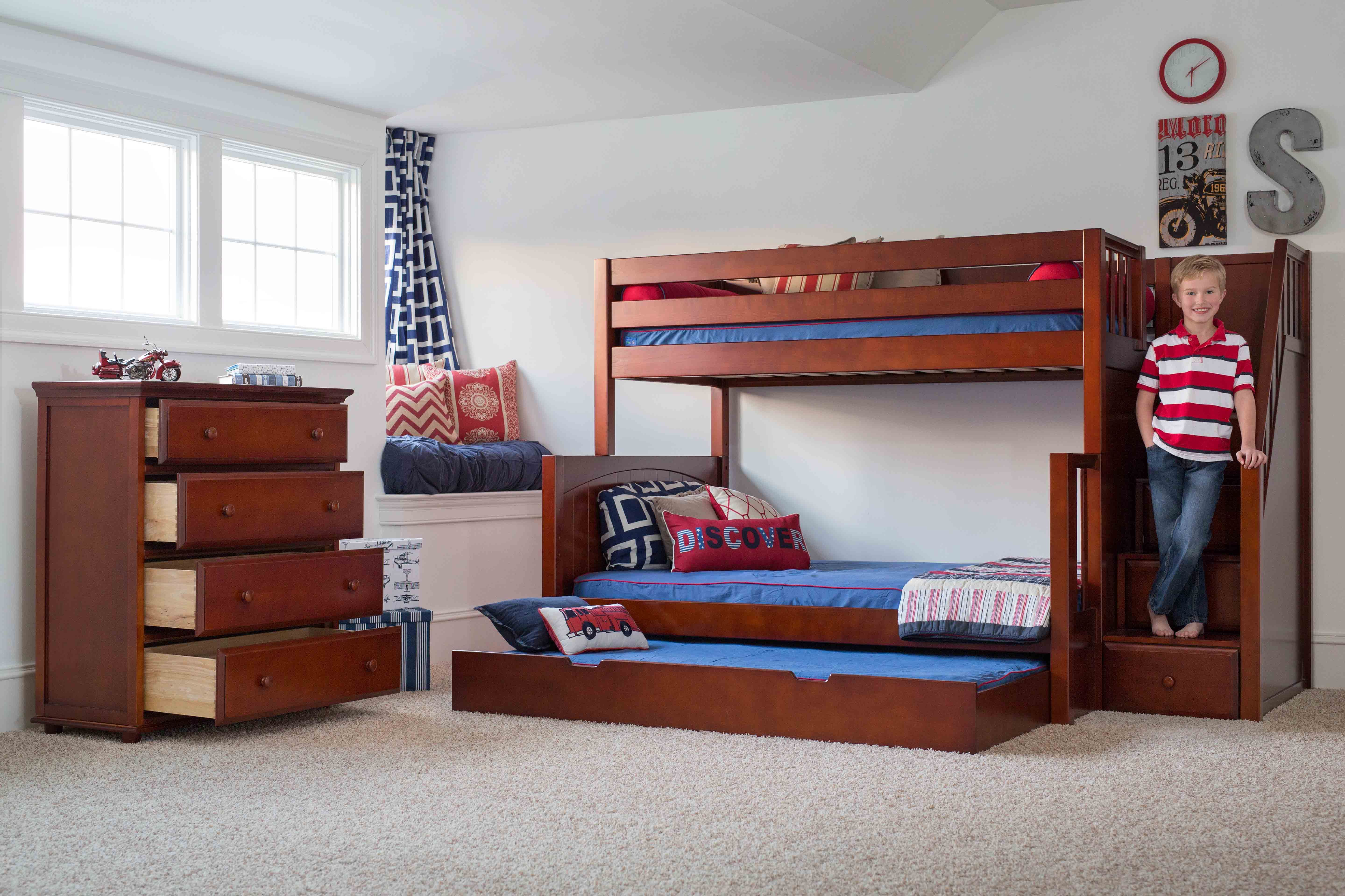 Best Single Over Double Bunk Bed With Trundle And Staircase 400 x 300