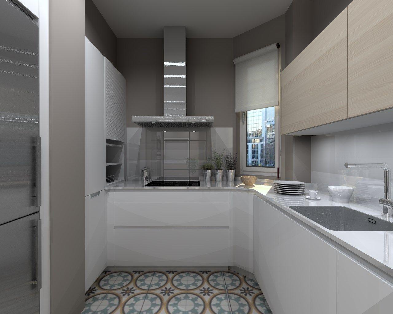 Cocina Santos Modelo Line Estratificado Blanco Y Fresno Encimera  # Muebles Cocinas Soinco