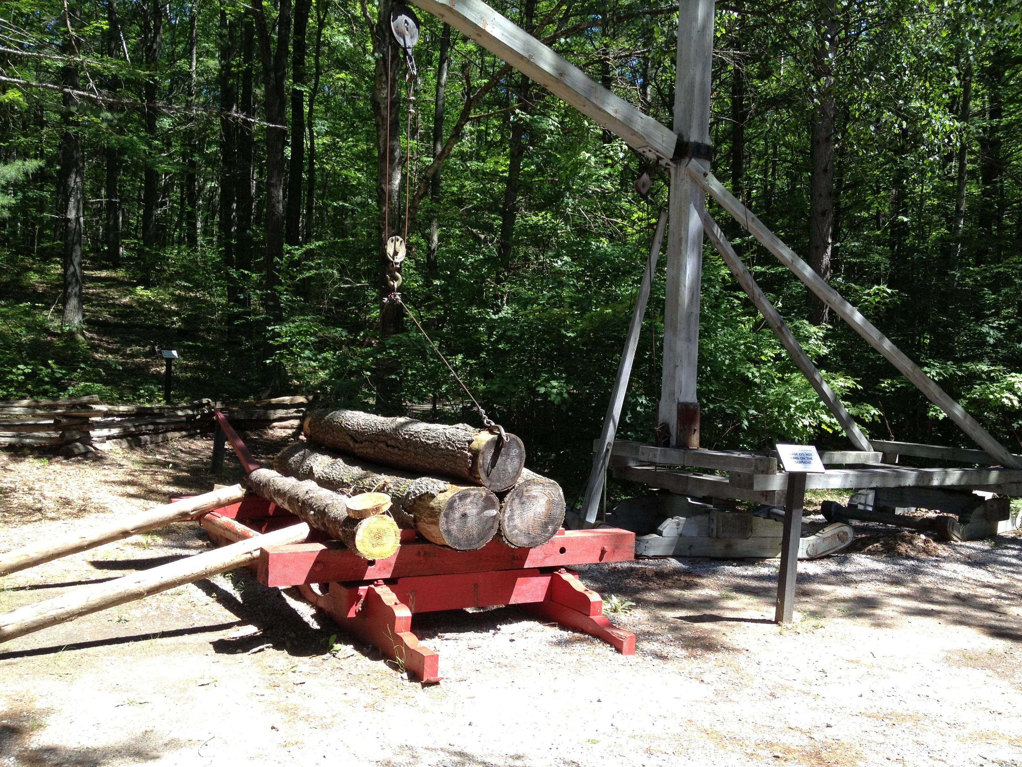 Pulleys used to lift heavy logs. Hartwick Logging Museum