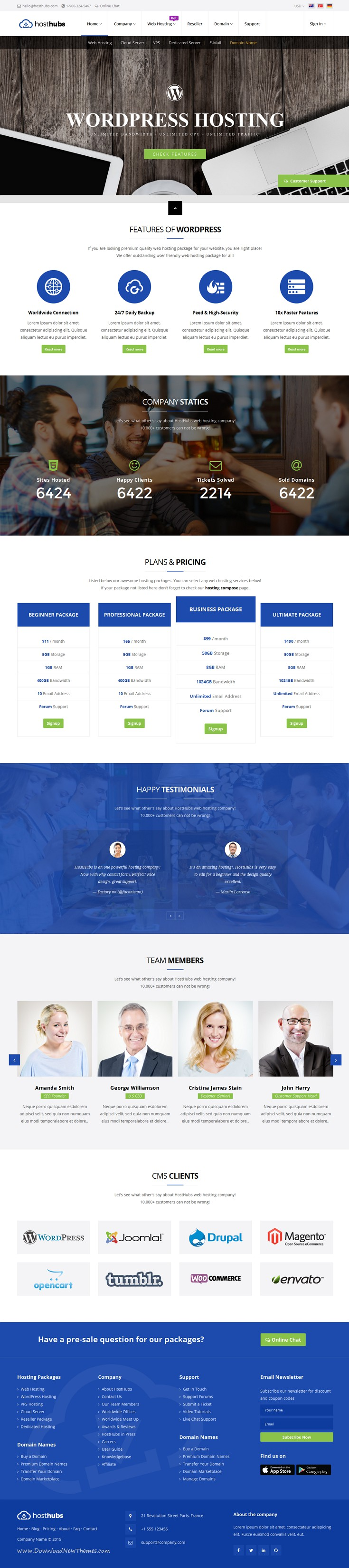 HostHubs | Responsive WHMCS Web Hosting, Domain, Technology Site ...