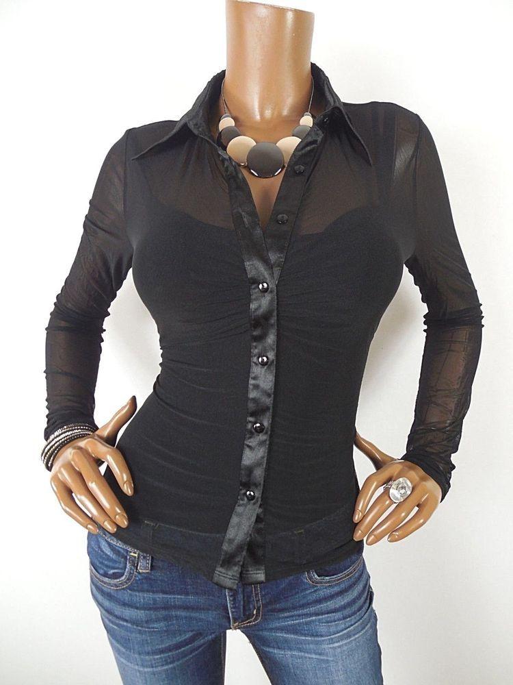 011b2a2c8ff GUESS Womens Top M SEXY Shirt Sheer Black Mesh Button Down Long Sleeves  Stretch  GUESS  Blouse  Casual